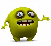 3 d cartoon cute yellow virus monster poster