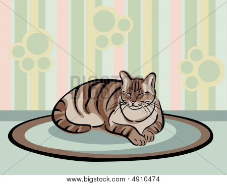A vector illustration of a brown tabby cat napping on a rug. poster