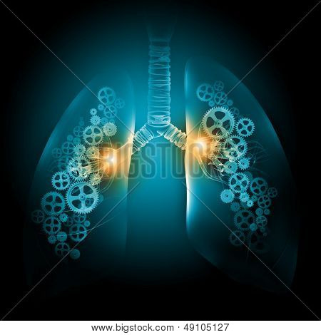 Illustration of human lungs with cog wheel mechanisms poster