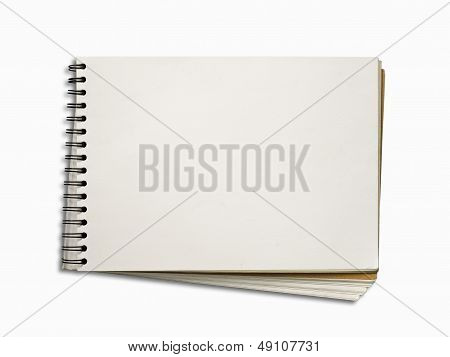 Blank White Page Of Note Book Horizontal