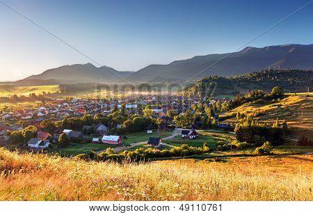Rural scene in Slovakia Tatras - village Zuberec poster