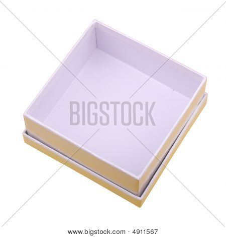 closeup of the white empty box isolated on white poster