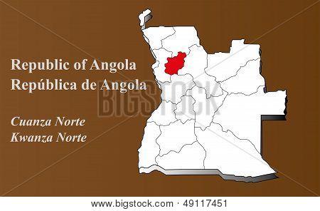 Angola - Kwanza Norte Highlighted