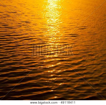 Gold sunset water texture