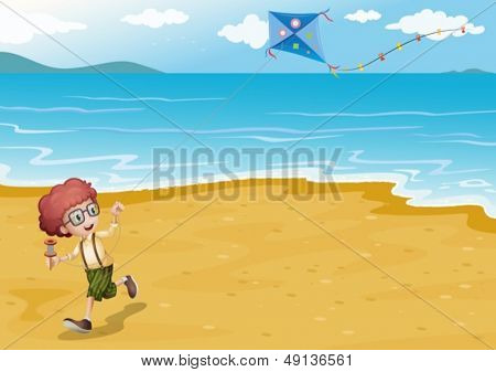 Illustration of a beach with a boy playing