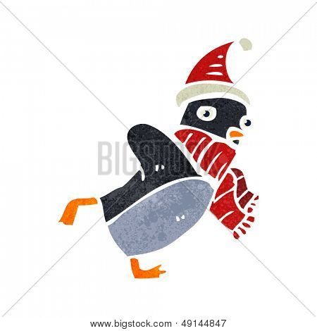 retro cartoon skating christmas robin poster