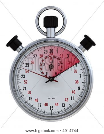 frontal closeup of stopwatch 5 seconds elapsed time colored with red gradient poster