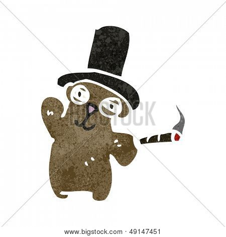 retro cartoon rich teddy bear waving poster