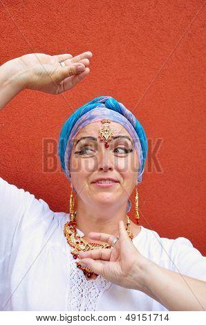 Beautiful Blond Senior Woman With Indian Jewleries