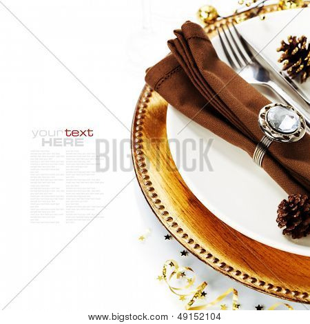 Christmas table place setting with christmas decorations (with easy removable sample text)