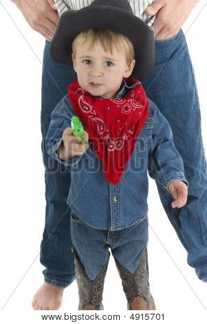 Little Cowboy With Squirt Gun