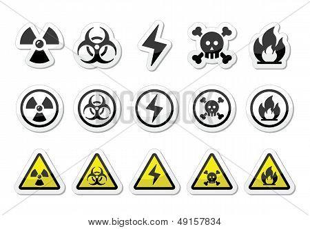 Danger, risk, warning icons set
