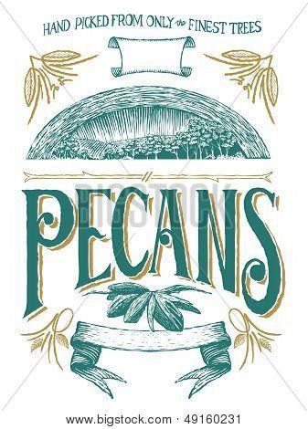Woodcut Pecan Label