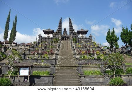 Stairway in mother temple of Besakih on Mount Agung in Eastern Bali, Indonesia