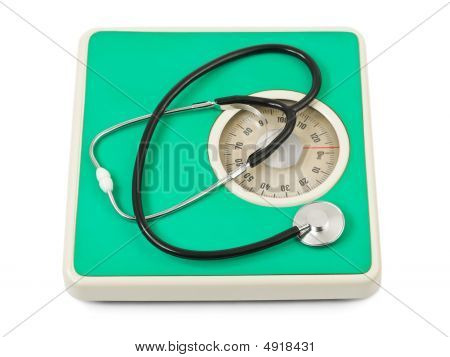 Stethoscope On Weight Scale