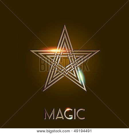 Pentagram or five pointed star, magic, eps10 vector