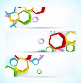 Set of banners with colorful hexagons. Abstract illustration poster