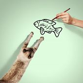 Image of siamese cat catching drawed fish poster