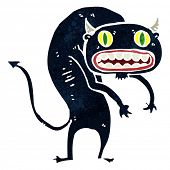 retro cartoon scary monster poster