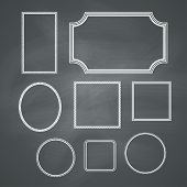 Chalkboard retro background with frames. Vector collection poster
