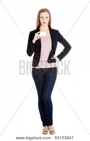 Beautiful caucasin business woman holding personal card. Isolated on white.