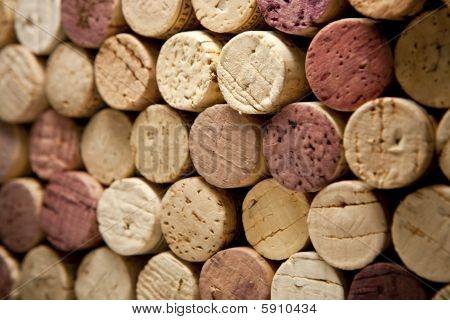Wine Corks From Angle And Selective Focus