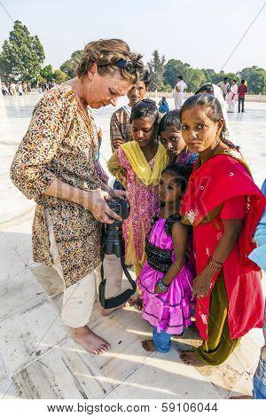 People Visit The Taj Mahal In India