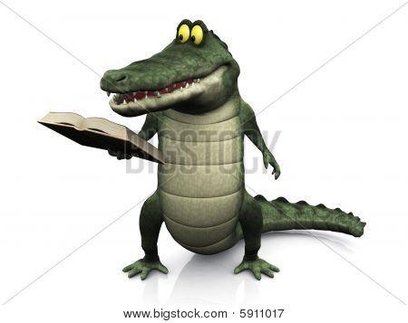 Cartoon Krokodil Lesebuch.