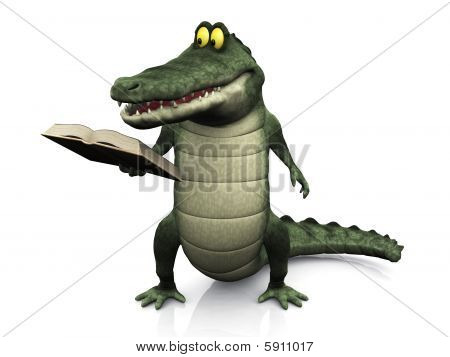 Cartoon Crocodile Reading Book.