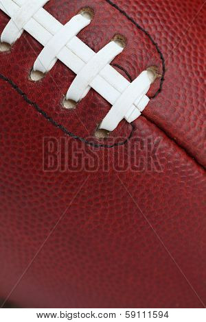American Football Texture and Laces Close Up for Sports Background
