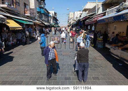 Jerusalem, Israel - November 15, 2012 - people are shopping at Mahane Yehuda - famous market in Jerusalem