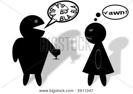 Illustration of Man boring Woman at a Party