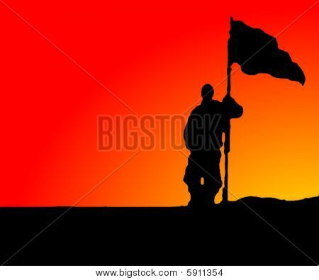 Illustration - Man holding a Flag in Sunset-Sunrise