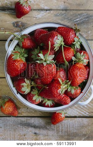 Ripe Strawberries On Table