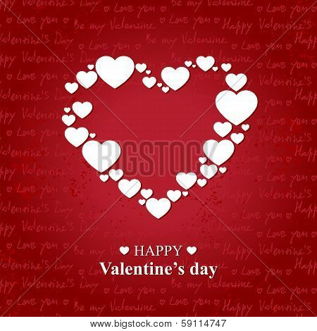 Valentine's day card with white hearts