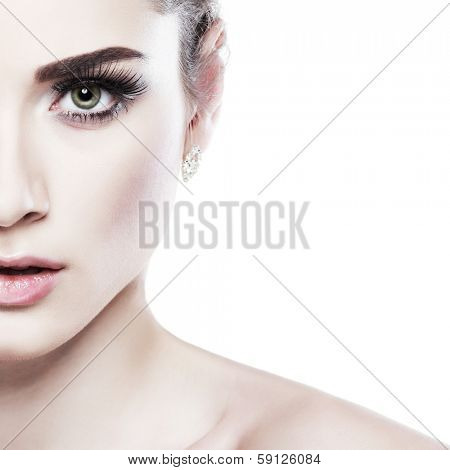 Closeup portrait of sexy whiteheaded young woman, emotions, cosmetics, isolated on a white background