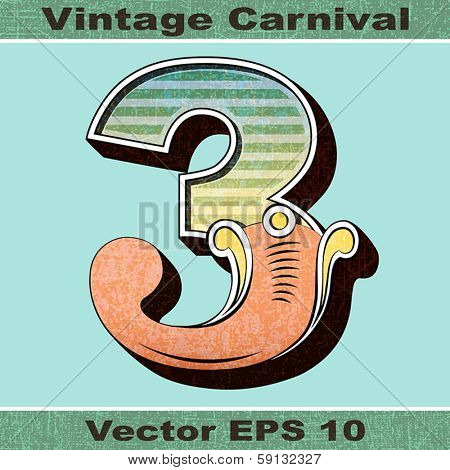 The Number 3, Three of an Alphabet Sit of Vintage, Carnival, Circus, Funfair, Fishtail Letters and Numbers.