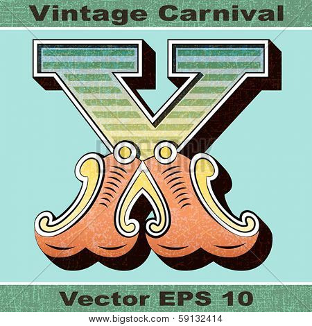 The Letter X of an Alphabet Sit of Vintage, Carnival, Circus, Funfair, Fishtail Letters and Numbers.