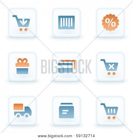 Shopping web icons, white glossy buttons