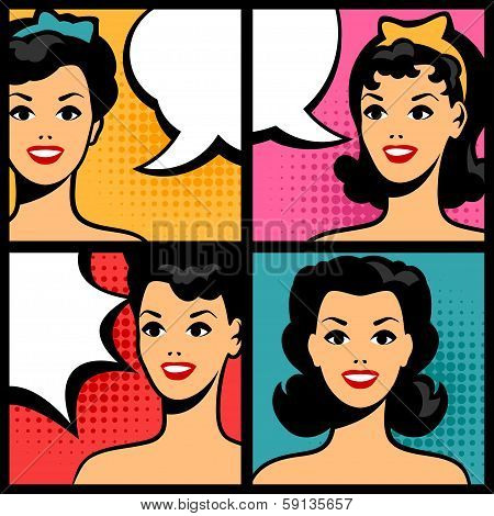 Illustration of retro girls in pop art style.