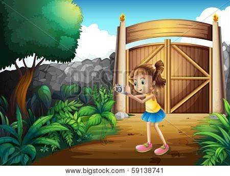 Illustration of a cute girl taking pictures at the frontyard