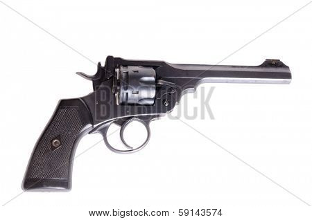 Antique British Webley Mark VI revolver isolated on a white background