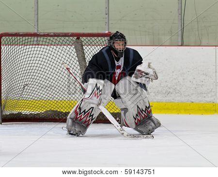 Hockey Goaltender Ready To Make A Save