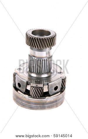 Genuine Used Car Transmission Gears, Chains, Cogs, Teeth, Splines, Worm Gears, Bearings, Nuts and Bolts all made of real Steel. Isolated on white with room for your text.