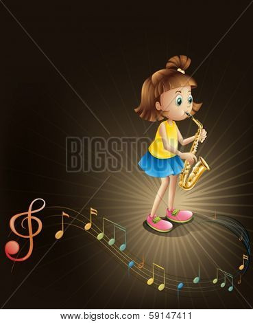 Illustration of a talented young girl with a saxophone