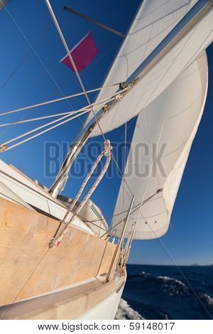 Sailing boat wide angle view in the sea