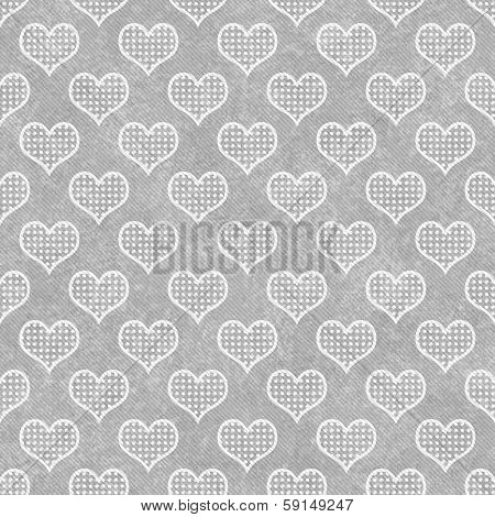 Gray and White Polka Dot Hearts Pattern Repeat Background poster