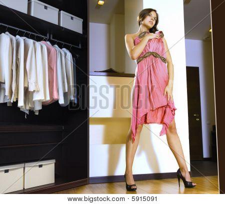 Woman Fits On A Dress