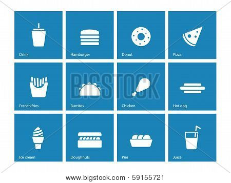 Fast food icons on blue background.