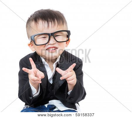 Little boy smile with victory hand gesture poster